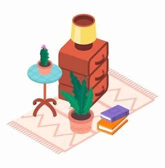Isometrische vectorillustratie van een set items voor de woonkamer. alle objecten zijn geïsoleerd