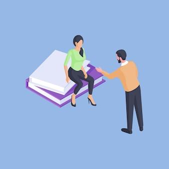 Isometrische vectorillustratie van mannelijke tutor lezingen slimme vrouwelijke student zittend op boeken tijdens universitaire studies tegen helder blauwe achtergrond