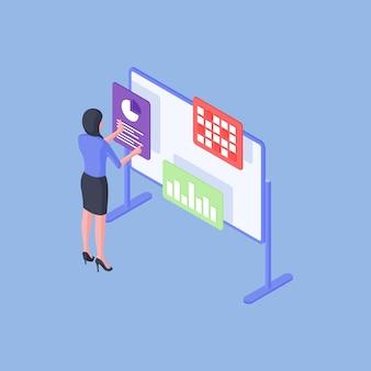 Isometrische vectorillustratie van moderne slimme vrouw die bedrijfsgegevens op whiteboard onderzoekt en analyseert tijdens het werk op helderblauwe achtergrond