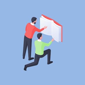 Isometrische vectorillustratie van slimme mannelijke studenten die informatie zoeken op pagina's van interessant leerboek terwijl ze samen studeren op blauwe achtergrond