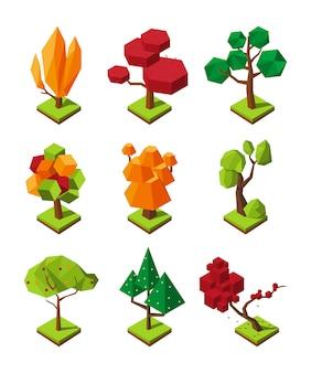 Isometrische veelhoekige bomen in 3d