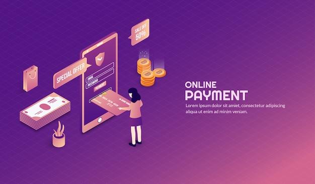 Isometrische veilige en veiligheids online betalingsachtergrond