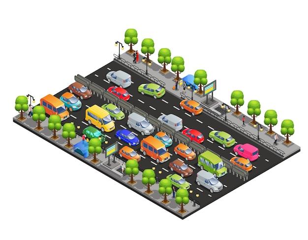 Isometrische verkeersopstopping concept