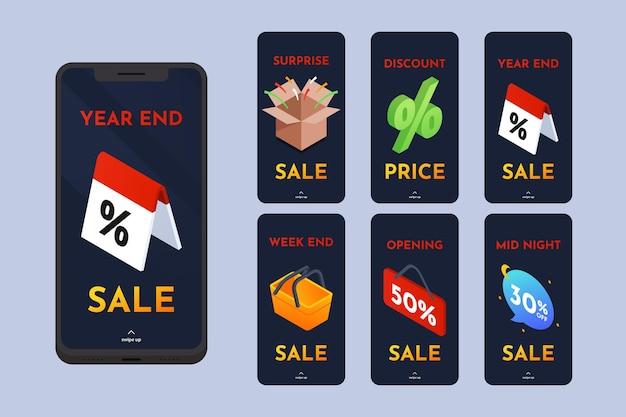 Isometrische verkoop instagram verhaalset