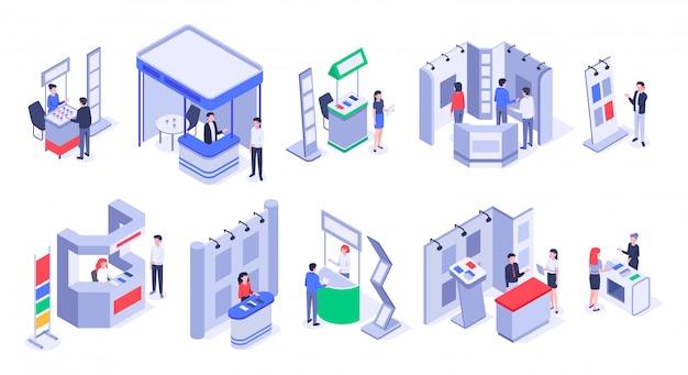 Isometrische verkoopstandaards. expo demonstratiestand, productbeurs handelskramen en evenementen mensen stellen