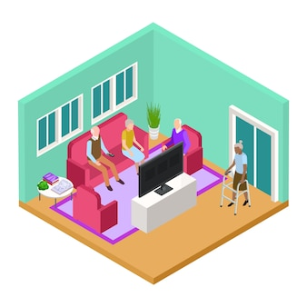 Isometrische verpleeghuis woonkamer interieur met oude mensen vector concept