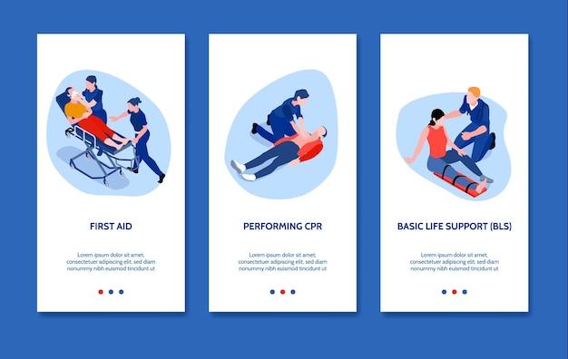 Isometrische verticale banners die met artsen worden geplaatst die eerste hulp geven aan geïsoleerde gewonde mensen