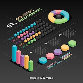 Isometrische verzameling infographics element