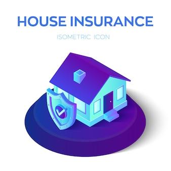 Isometrische verzekerde woning met veiligheidsschild met check icoon. huis en woning bescherming verzekering zakelijke dienstverlening.