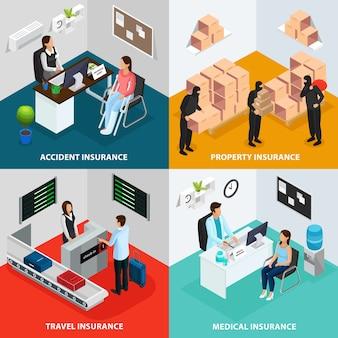 Isometrische verzekering case concept
