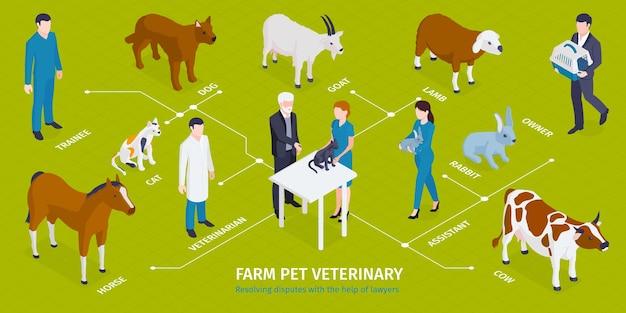 Isometrische veterinaire infographic met bewerkbare tekstbijschriften karakters van medische hulpverleners met meesters huisdieren en dieren illustratie