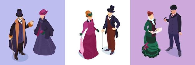 Isometrische victoriaanse mode-kaartenset