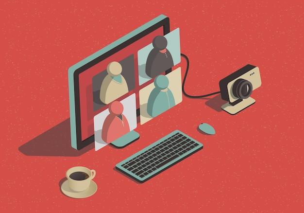 Isometrische videoconferentie concept met computer en webcamera