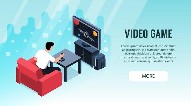 Isometrische videogame horizontale banner met klikbare meer knop en afbeeldingen van spelende man
