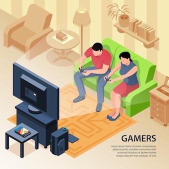 Isometrische videogame met tekst en binnenlandse illustratie