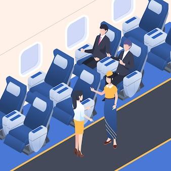 Isometrische vliegtuig boarding concept