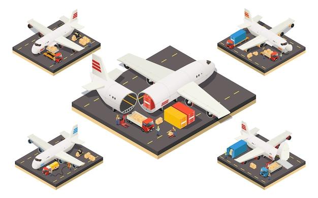 Isometrische vliegtuigen logistiek concept