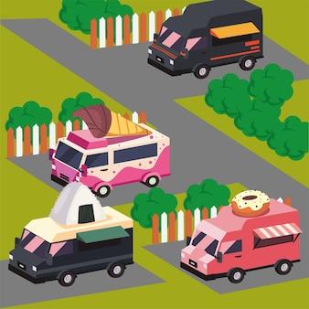 Isometrische voedselvrachtwagens die bij park worden geplaatst
