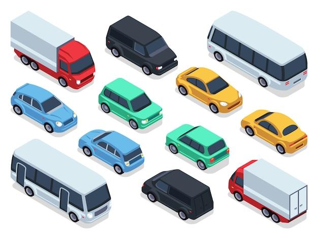 Isometrische voertuigen en auto's voor 3d-stadsverkeer kaart.