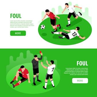 Isometrische voetbal voetbal web banner sjabloon set