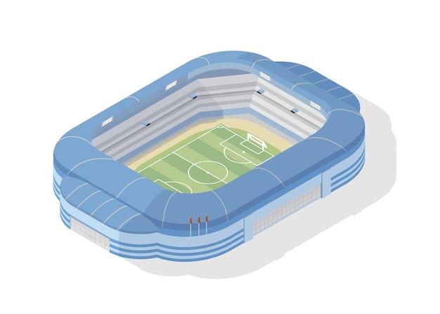 Isometrische voetbalstadion. moderne voetbalarena op wit wordt geïsoleerd