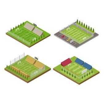 Isometrische voetbalveld stadiongebouw voor voetbalsport