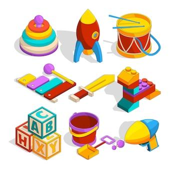 Isometrische voorschoolse kinderen speelgoed