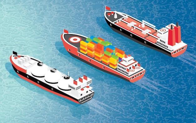 Isometrische vrachtschipcontainer, lng-transportschip en olietanker. vectorillustratie. scheepvaart goederenvervoer.
