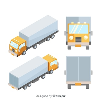 Isometrische vrachtwagen in verschillende weergaven