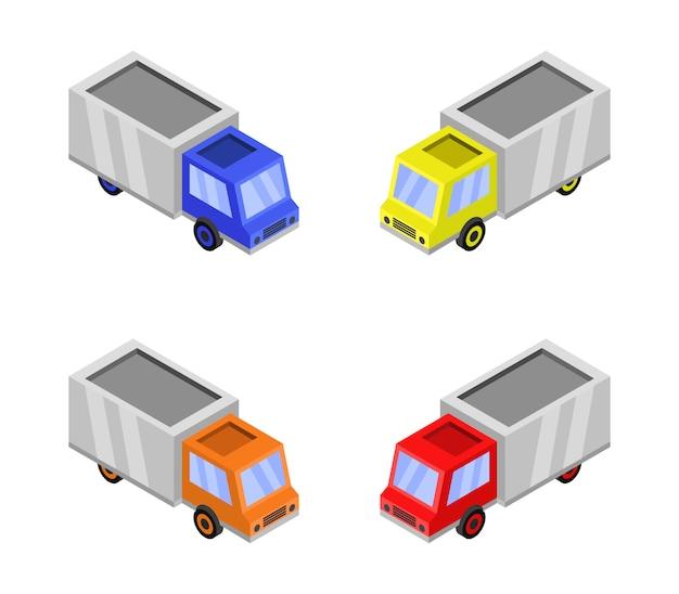 Isometrische vrachtwagen set