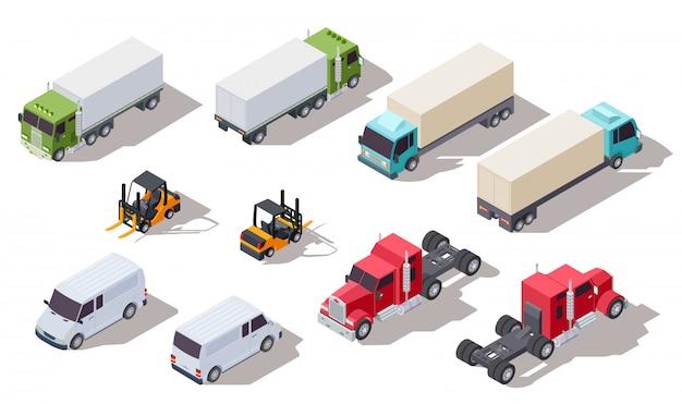 Isometrische vrachtwagen. transportvrachtwagens met container en bestelwagen, vrachtwagen en lader. 3d-voertuigen collectie