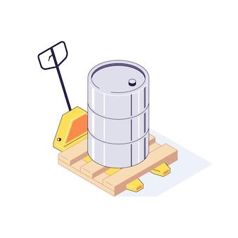 Isometrische vrachtwagenpallet met vatenillustratie