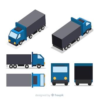 Isometrische vrachtwagenperspectieven collectie