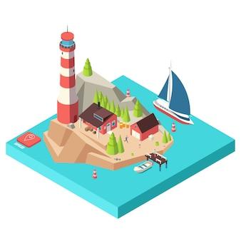 Isometrische vuurtoren. eiland met op zee toren en huis, bomen en boot en mensen isometrische illustratie