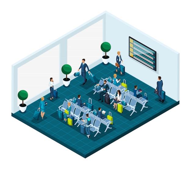 Isometrische wachtkamer voor een internationale luchthaven, zakenvrouwen en zakenlieden op zakenreis, passagiers met bagage die wachten op een vlucht naar het vliegtuig
