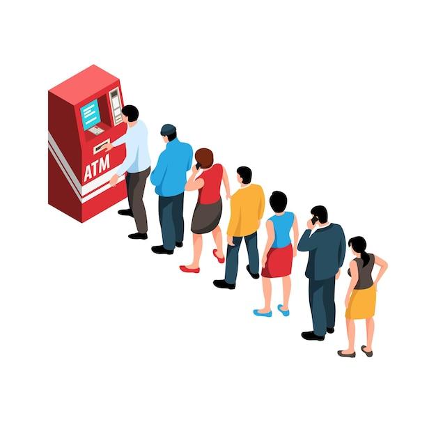 Isometrische wachtrijsamenstelling met mensen die in de rij staan voor atm