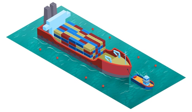 Isometrische watertransportsamenstelling met vierkante trawlerboot van het platformwater en binnenschip geladen met lading