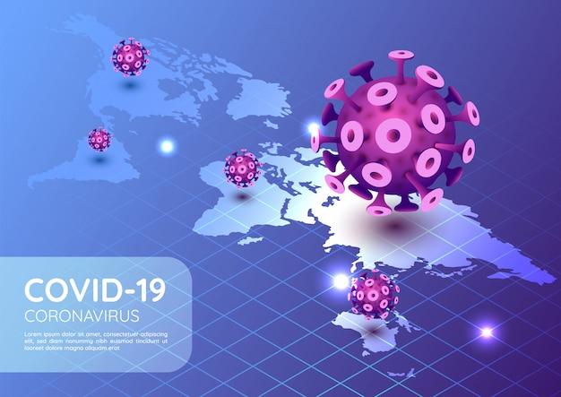 Isometrische webbanner covid-19 virus- of coronavirusuitbraak in 2020 met wereldkaart
