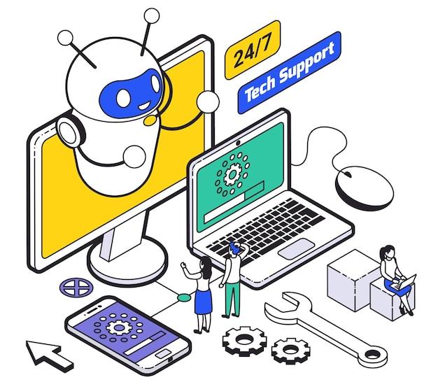 Isometrische webhosting en ondersteuningssamenstelling met online technische ondersteuning voor klanten