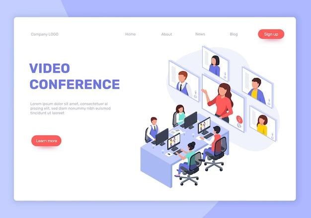 Isometrische webinar videoconferentie of vergadering online bedrijfstraining vector bestemmingspagina