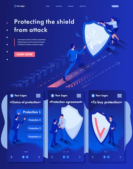 Isometrische weblandingspagina van zakenlieden die zich achter een schild tegen aanvallen verbergen