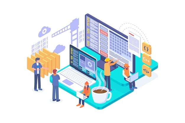 Isometrische webontwikkeling in aanbouw concept