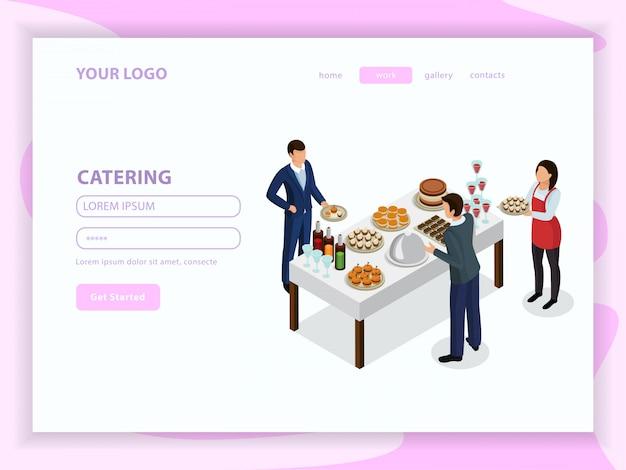 Isometrische webpagina catering met ober en bezoekers in de buurt van tafel met drinken en eten