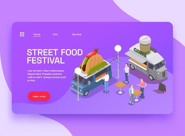 Isometrische website-bestemmingspagina voor foodtrucks