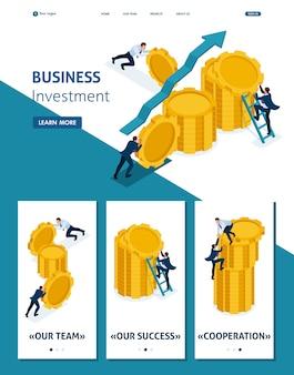 Isometrische websitesjabloon landingspagina bedrijfsinvesteringen in bedrijfsontwikkeling, ondernemers bouwen besparingen op. adaptieve 3d