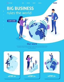 Isometrische websitesjabloon landingspagina grote baas kiest kleine mensen en plaatst ze over de hele wereld.