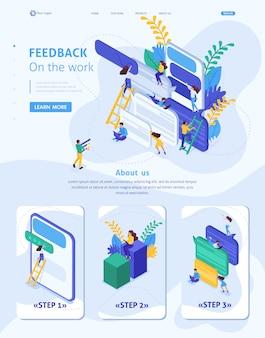Isometrische websitesjabloon landingspagina internetgebruikers schrijven feedback over services