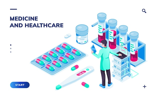 Isometrische weergave op arts met tablet of apotheker in de buurt van pillen