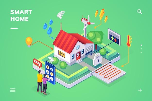 Isometrische weergave op smart home bestuurd door smartphone.
