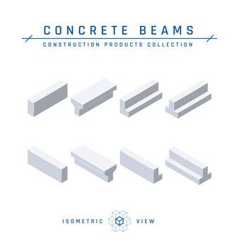 Isometrische weergave van betonnen balken in vlakke stijl.